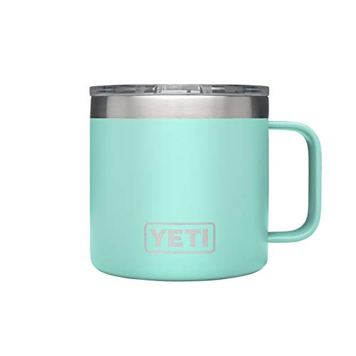 YETI Rambler 14 oz Stainless Steel Vacuum Insulated Mug with Lid, Seafoam (Best Deals On Patagonia)