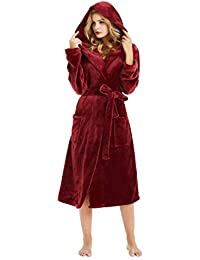 M&M Mymoon Womens Hooded Fleece Robes Plush, Wine Hooded, Size Small/Medium