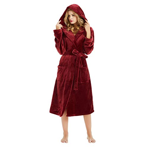 (M&M Mymoon Womens Hooded Fleece Robes Plush Comfy Soft Warm (Wine, S/M) )