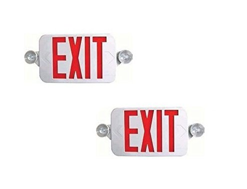 Ciata Lighting All LED Decorative Red Exit Sign & Emergency Light Combo with Battery Backup (2 Pack)
