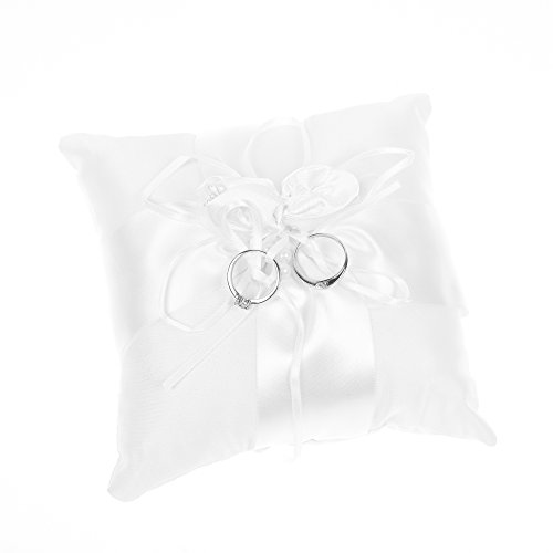 Kloud City 6x6 Inches Wedding Ceremony Ring Cushion Bearer Faux Pearl Satin Ribbon Party Ring - Ribbon Pillow Ring
