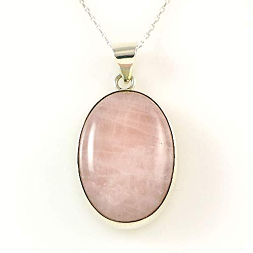 Sterling Silver Genuine Oval 1'' Rose Pink Quartz Gemstone Handcrafted Pendant Necklace 18+2'' - Rose Necklace Genuine Quartz
