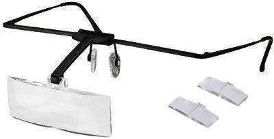 (Lightweight eyeglass hands free magnifier with 3 lenses 1.5x, 2.5x, 3.5x by Electro)