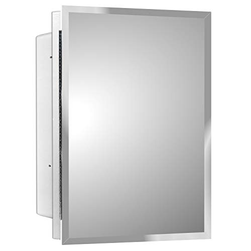 Mirrors and More Recessed Frameless Beveled Polished Edge Mirror Medicine Cabinet | Fixed Shelf | Bathroom | Kitchen | 16