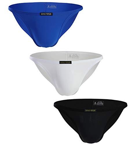 d9dc51ee1cb9 BRAVE PERSON Low Waist Bikini Swimwear Men's Underwear 3-Pack B1133 (S,  Blue/White/Black)