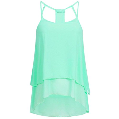 - DEATU Cheap Clearance! DEATU Cheap Clearance! Women Cool Casual Chiffon O-Neck Off Shoulder Open Back T-Shirt Sleeveless Tops Blouse (Green, L)