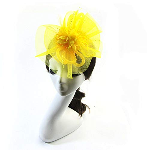 MOPOLIS Headwear Net Veil Flower Fascinator Feather Headdress Hair Clip Wedding Party | Color - Yelllow
