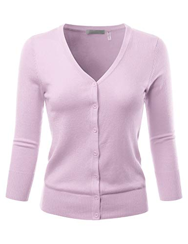(EIMIN Women's 3/4 Sleeve V-Neck Button Down Stretch Knit Cardigan Sweater Orchid)
