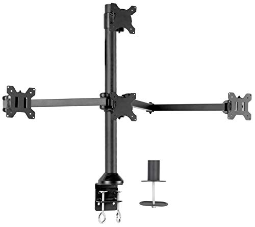 VIVO Steel Quad LED LCD Computer Monitor Heavy Duty Desk Mount, 3 Plus 1 Fully Adjustable Stand | Holds 4 Screens up to 32 inches (STAND-V104A)
