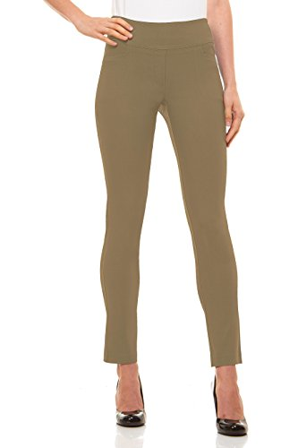 - Velucci Womens Straight Leg Dress Pants - Stretch Slim Fit Pull On Style, Taupe-S