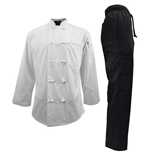 - Men's Chef Uniform Set - Chef Coat and Pants (Medium, White Coat/Black Pants)
