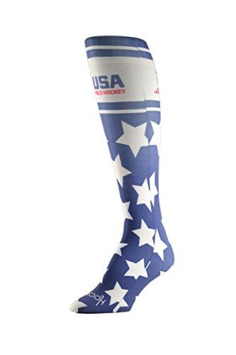 HOCSOCX Womens/Girls Shin Guard Rash UNDER Sport Socks (Medium (Shoe Size 5-11), USA Field Hockey Stars)