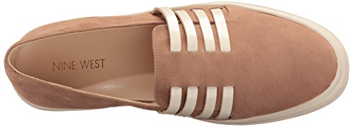 Nine West Mujeres Owen Suede Fashion Sneaker Natural / Ante Blanco