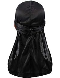 Hip-hop Tone Men Silky Durag Cap Headwrap Long Tail 360 Waves Du-rag Hat (One Size, Black)