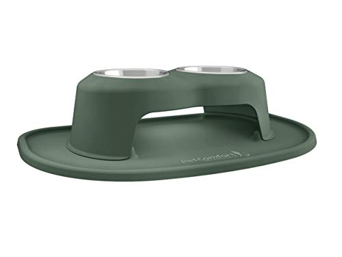 PetComfort Double High Feeding System with XL Mat (6″ Stand, Hunter Green)