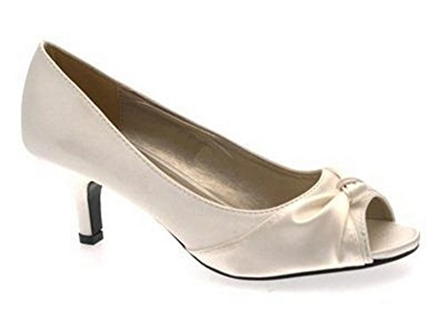 Lora Dora Womens Satin Bridal Wedding Shoes Low Heel Comfort Peep Toe Shoes Size UK 3-8 Ivory zIBf3MVkV1