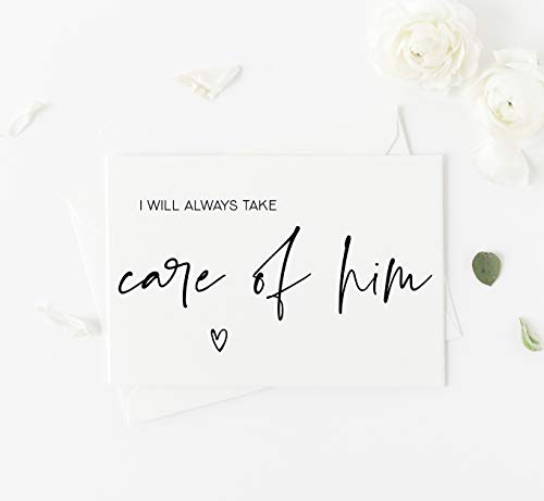 I Will Always Take Care of Him Wedding Day Card To Parents in Law Parents of the Groom Gift