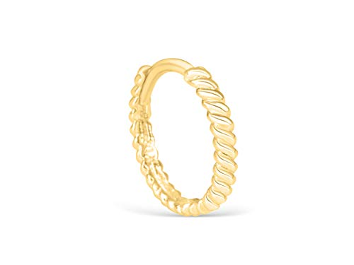 14K Real Solid Yellow Gold Jewelry 9mm Tie Twist Lope Knot Open Round Circle Tragus Cartilage Snug Inner Outer Conch Daith Helix Ear Segment Clicker Huggie Hoop Ring Piercing Earring For Women ()