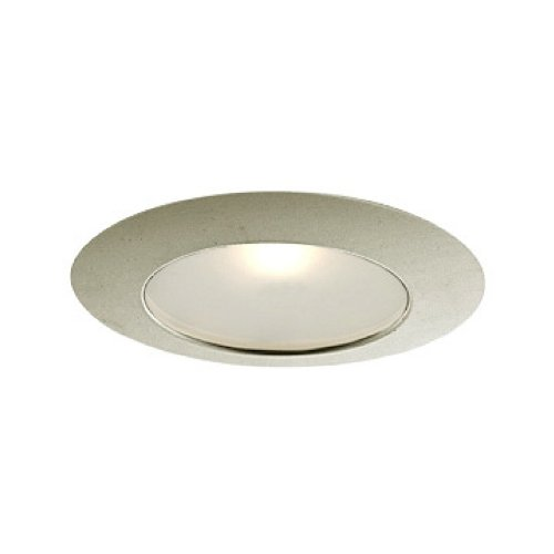 Jesco Lighting TM616ST 6-Inch Aperture Line Voltage Trim Recessed Light, Flat Frosted Opal Glass for Shower, Satin Chrome Finish 6 Line Voltage Trim