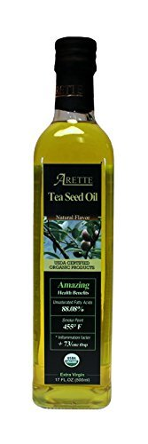 Arette Organic Tea Seed Oil with Natural Flavor (USDA Cerfitied) extra virgin, cold pressed, 17 oz (500ml) by Arette Foods