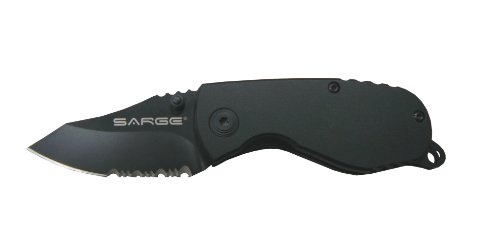 Sarge Knives SK-800 Compact Tactical Folder Knife with 2-1/2-Inch Partially Serrated Stainless Blade and 6061 Aircraft Black Handle, ()