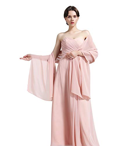 Sheer Soft Chiffon Bridal Women's Shawl For Special Occasions Dusty Rose