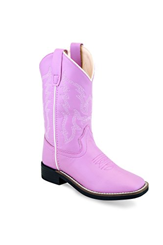 Old West Cowboy Boots Girls Stitch Pull On Cushion 1 Child Pink VB9131 (Girls Cowboy Boots Pink)