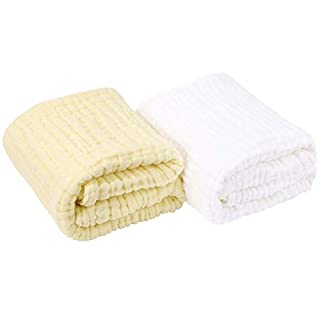 AIMIUKIDS Newborn Muslin Baby Towel Cotton Gauze Super Soft Baby Bath Towels 6 Layers Infant Towels 2 Pack 43.3''x43.3''(White,Yellow)
