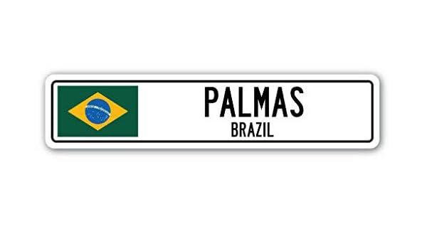 Palmas, Brazil Señal de Calle con Bandera brasileña, para la ...