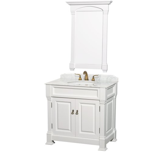 ndover 36 inch Single Bathroom Vanity in White, White Carrera Marble Countertop, White Undermount Round Sink, and 28 inch Mirror ()