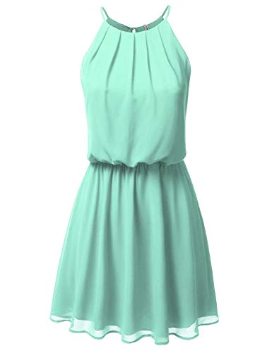 JJ Perfection Women's Sleeveless Double-Layered Pleated Mini Chiffon Dress Mint -