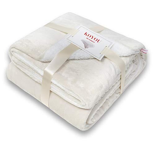 Koyou Super Soft Beige Plush Sherpa Borrego Blanket Throw Queen or Full Size Bed