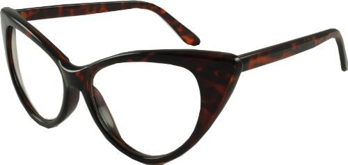Revive Eyewear Men's Retro Cats Eye Style Geek Style Brown Frame/ Clear Lens Non Polarized Glasses - Uk Glasses Geek
