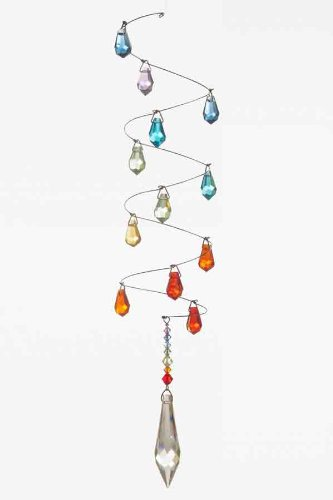 Langes Mobile mit Swarovski-Kristallen, spiralförmig, mit 12 farbigen Kristalltropfen, 15 mm, und einem Swarovski-Eiszapfen, 50 mm spiralförmig Wild Things