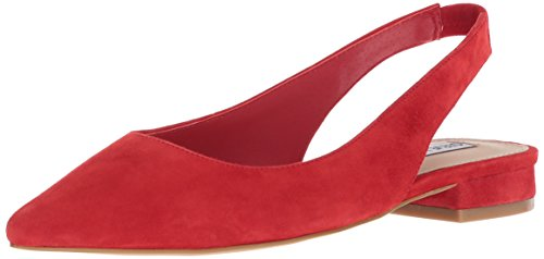 Steve Madden Women's Envi Ballet Flat, Red Suede, 7.5 M US - Red Pointed Toe Slingback Shoes