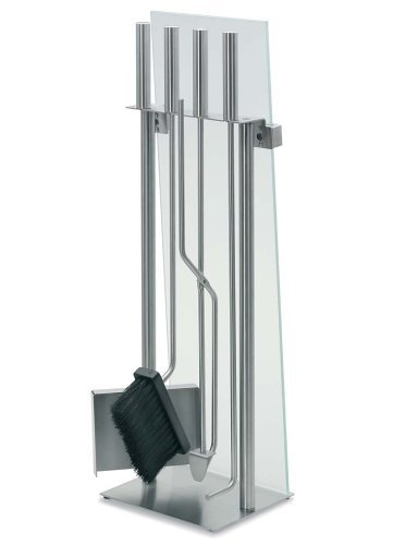 - Blomus Stainless Steel Fireplace Tool Set with Glass