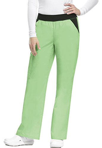 Waistband Contrast - Flexibles by Cherokee Women's Knit Waistband Cargo Scrub Pant Large Pistachio Gelato