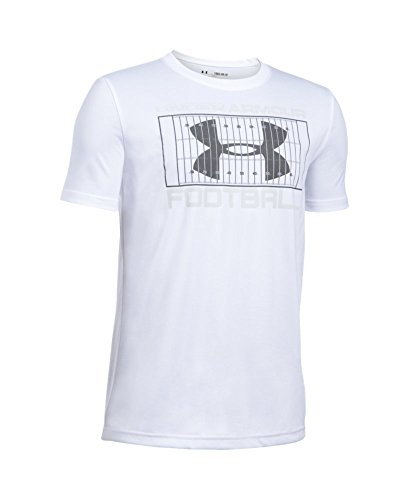 Under Armour Boys' Football Holiday T-Shirt, White (100), Youth Large - Short Sleeve Football T-shirt