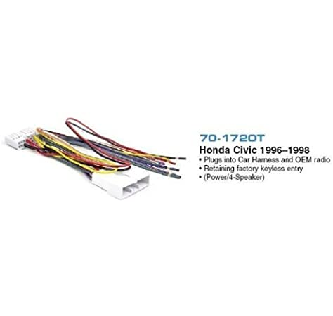 Amazon.com: Metra 70-1720T In-Dash Radio Installation Wire Harness for 1996-1998Honda  Civic: Car Electronics