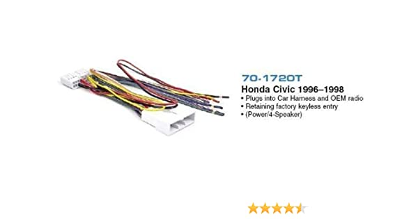 amazon com brand new metra 70 1720t 1996 1998 honda acura civicbrand new metra 70 1720t 1996 1998 honda acura civic (retains factory keyless entry control) into car wire harness allows you to upgrade your factory cd