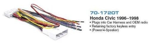 Brand New Metra 70-1720t 1996-1998 Honda/acura/civic (Retains Factory Keyless Entry Control) Into Car Wire Harness - Allows You to Upgrade Your Factory Cd Player Without Needing to Cut and Splice a Ton of Wires ()