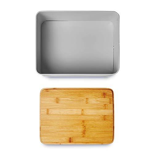 Lumaland Cuisine panera en Metal con Tapa en bambú, Rectangular ...
