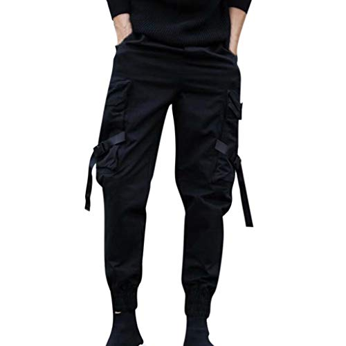 Men's Tapered Cargo Pants Casual Military Work Drawstring Hip Hop Sportwear Hiking Tactical Workwear Overalls - Hip Strings Hop