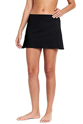 Lands' End Women's SwimMini Swim Skirt, 10, Black