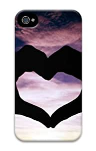 E-luckiycase PC Hard Shell Heart Hand for Iphone 4 4s 3D Case