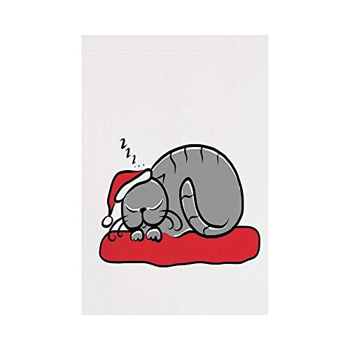 Polyester Garden Flag Outdoor Flag House Flag Banner,Christmas Decorations,Cat with Santa Hat Whiskers on Pillow Winter Night Cartoon Art,White Red Grey,for Wedding Anniversary Home Outdoor Garden Dec