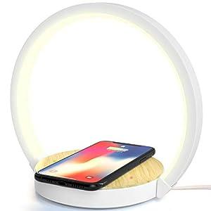 Lampe de bureau LED Lampe de Chevet Lampe de table avec Chargeur Sans Fil avec 3 Niveaux de Luminosié ELEHOT (10W)