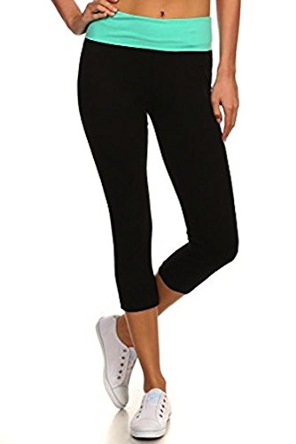 Fold Crop Pant Over - MOPAS Yoga Capri with Fold Over Solid Waistband Mint S