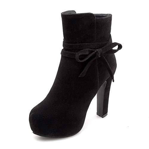 Bowtie Mujer Zip Party Zapatos Hoesczs Botines Plataforma Tamaño Black 2018 Boots 43 Tacones Altos 34 Grande Sweet Up PqY1FB