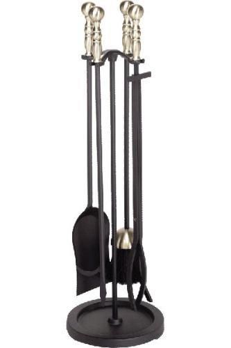 - Antique Brass/Black 5 Piece Fireset - 30.5 inch